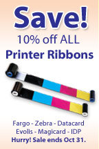 10% off all ID card printer ribbons at IDCardGroup.com during October 2014