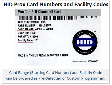 HID Prox card numbers and facility codes - IDCardGroup.com