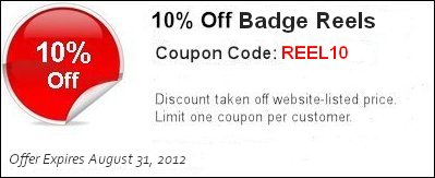 Save 10% on badge reels in August 2012