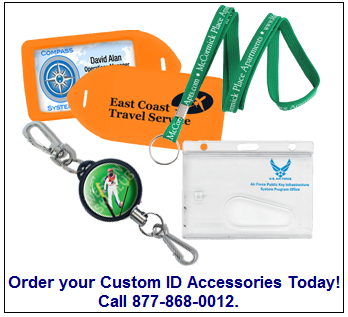 Custom print your ID Badge holder, reel, lanyard, or luggage tag at IDCardGroup.com
