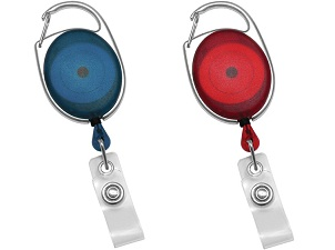 Translucent blue and red premium carabiner badge reels
