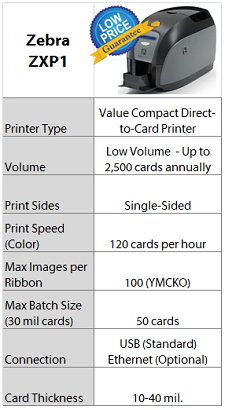 Zebra ZXP 1 Printer Quick Specs - IDCardGroup.com