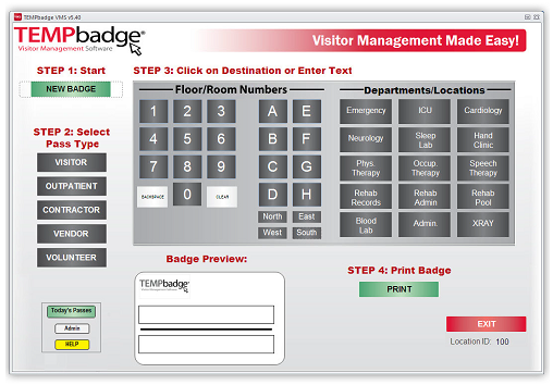 TempBadge Visitor Management System screen