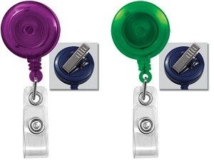 Translucent Badge Reel w/Swivel Clip-Pack of 25
