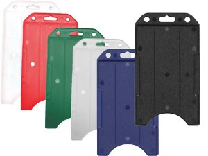 Color Plastic ID Badge Holder Clip with Green Holder VERTICAL