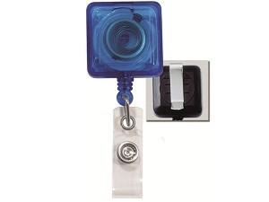 Translucent Blue Square Badge Reel-25 pack