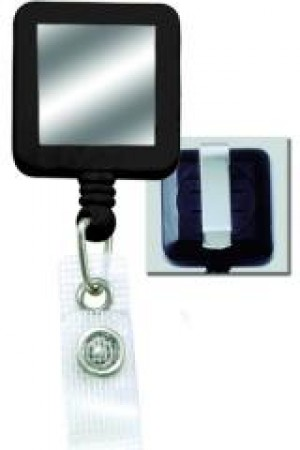 Standard Clip-On Square Badge Reel w/ Strap Clip - Sticker - 100
