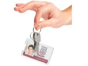 Rigid Plastic Badge Holder w/Key Ring-50 pack